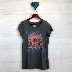 Juicy Couture Gray Glitter Graphic Print Tee